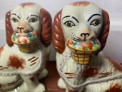 Superb Pair 19thc Staffordshire Seated Red Spaniel Dogs W Flower Baskets