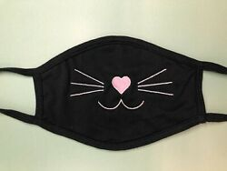 Cat Kitty Face Mask Girl Women Fun Cute Whiskers Reusable Face Mask embroider $17.00