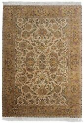 Indian Wool Hand Knotted Carpet Handmade Carpets 5x8 Antique Area Rug