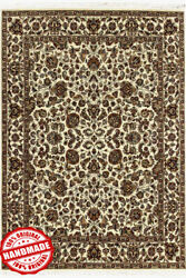 Hand Knotted Wool Rug Indian Handmade Beige Area Rugs 8x10 Vintage New Carpets