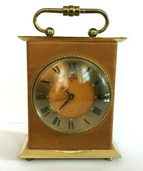 Vintage Rare Swiza 8 Days Alarm Desk Clock Real Leather And Brass Swiss Made