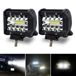 2x 4inch 60w Spot Led Driving Work Light Bar 4wd Truck Offroad Pods Atv Suv Cars