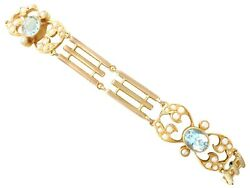 2.55 Ct Aquamarine And Seed Pearl 15 Ct Yellow Gold Gate Bracelet - Antique