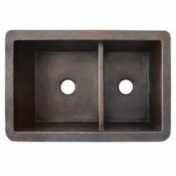 Native Trails Cpk275 Cocina Duet Double Bowl Hammered Copper Kitchen Sink
