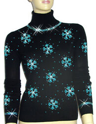 Luxe Oh` Dor 100% Cashmere Sweater Luxury Snowflakes Turquoise 38131 212ft