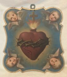 """Antique 1800s Italian Religious Angel Sacred Heart Painting On Metal Plaque 13""""t"""