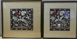 A Pair Of Chinese Qing Dynasty Silver Pheasant 5th Rank Badges