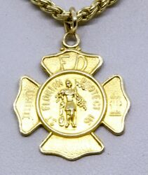 21 14k Solid Yellow Gold Saint St. Florian Firefighter Pendant Chain Necklace