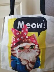 Rosie the Cat Print Tote Bags Linen Reusable Bag $14.99
