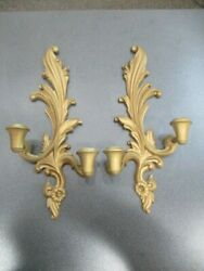Vintage Pair SYROCO WOOD Wall Hanging Candlestick Holders Gold 16quot; L x 7quot;W EUC