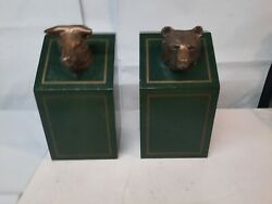 Vintage Wall Street Stock Market Bull And Bear Brass Wood Heavy Bookends