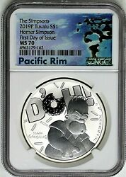 2019 1 Tuvalu 1 Oz Silver Homer Simpson Ngc Ms70 First Day Of Issue Pacific Rim