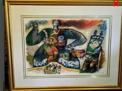 French Artisttheo Tobiasse Signed Lmtd Edition Lithograph Coa.gold Frame 58 X45