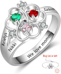 Personalized Women Rings Bracelet Birthstones Engrave Names Moms Jewelry Gift $22.99