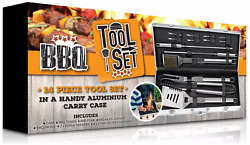 New Bbq Tool Grill Set Stainless Steel Barbeque Accessories Case - 14 Pieces