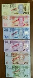 Fiji 2 - 100 Nd. 2007 P 109s-114s 6 Notes Specimen Set Uncirculated Banknotes
