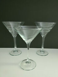 Set Of 6 6 Mikasa Martini Glasses Clear With Swirl Design. Free Shipping