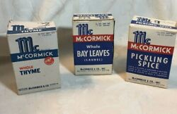 Three 3 Boxes Of Mccormick Spices...vintage Cardboard Still Filled
