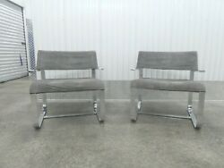 Rare Early 70's Saporiti Proposals Chrome Steel And Leather Lounge Chairs