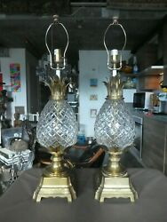 Incredible Large Vintage High End Brass And Cut Crystal Pineapple Lamps