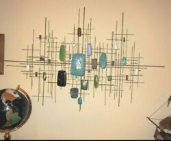 Fantastical Mid Century Modernist Enamel And Steel Atomic Wall Sculpture