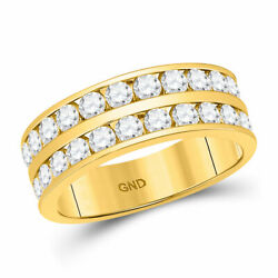 14kt Yellow Gold Mens Round Diamond Double Row Wedding Band Ring 2 Cttw