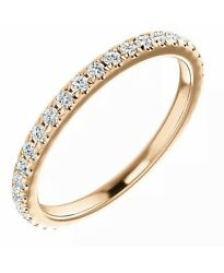 14k Sold Rose Gold French Set Anniversary Band 1/2 Ctw Diamond Ring 7 Stackable