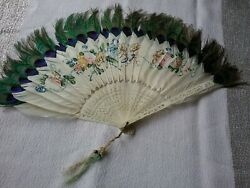 Antique Folding Hand Fanpeacock Feather Bone Hand Painted Floral