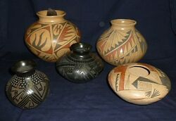 Lot Of 5 Mata Ortiz Mexican Pottery Vases By Various Artists All Signed