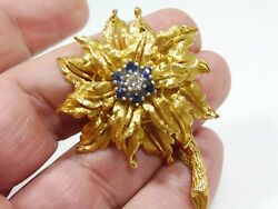 Top Drawer 18k Gold Diamond And Sapphire Floral Pin .86 Troy Ounces