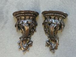 Two Turn Of The 20th C Black Forest Hand Carved Wood Wall Shelf Brackets