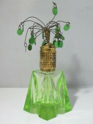 Unusual Vintage Green Cut Crystal Perfume Bottle With Flaming Sequin Top
