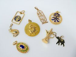 Eight 14k Gold And 18k Gold Middle Eastern Themed Charms