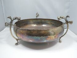 Vintage Sterling Silver Hand Hammered Bowl With Dolphin Handles