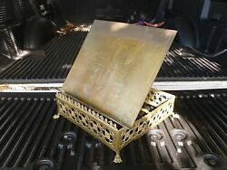 Vintage Solid Brass Church Bible Book Holder With Pierced Skirt And Hairy Paw Feet