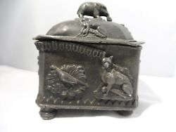 Antique Egyptian Revival Lead Sarcophagus Box W Elephant Top Adorned Cat And Dog