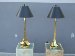 Whimsical 70's Brass Upside Down Palm Tree Lamps