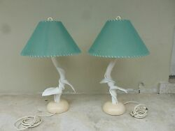 Pair Amazing 70's Tropical Eden Roc Hotel Acrylic Twisted Vine Leaf Table Lamps