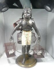Large Vintage Nubian Figure W Bird Cages On Brass Base Great Table Fare