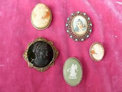 Lot Of 5 Vintage Antique Cameos Mostly Set In Silver