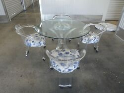 Fab 70's Lucite And Glass Tusk Round Dining Table W 4 Curvaceous Lucite Chairs