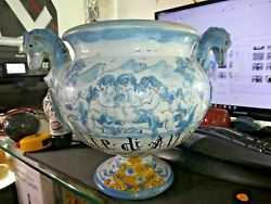 Large Italian Majolica Pottery Vessel Adorned With Angels W Seahorse Handles