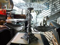 Best High Style Art Nouveau Silverplate Figural Epergne