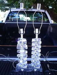 Pair Of 70's Large Stacked Lucite Table Lamps - P