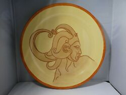 Rare Art Deco Bauer Pottery Charger Of An Inca Warrior Signed Diamond Cook