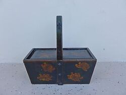 Antique Japanese Painted Lacquer Handled Box Decorated W Chrysanthemums