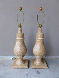 Pair Large Mid Century Contemporary Italian Style Pompeian Baluster Table Lamps