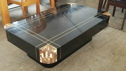 Chic Mid Century Black Lacquer Inlaid Brass And Tessellated Horn Coffee Table P