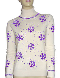 Luxe Oh` Dor 100% Cashmere Sweater Luxury Snowflakes Pearl White Lilac 3436 XS