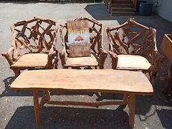 Campfire Furniture Set Half Log And 3 Chairs Very High Quality Heavy